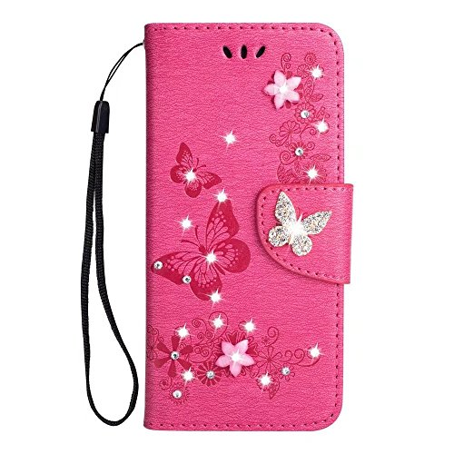 (for Samsung Galaxy J3 Emerge Case, J3 Prime / J3 2017 / J3 Mission / J3 Luna Pro / J3 Eclipse/Express Prime 2 / Amp Prime 2 / Sol 2 Wallet Diamond Case with Wristlet Strip,Rose)
