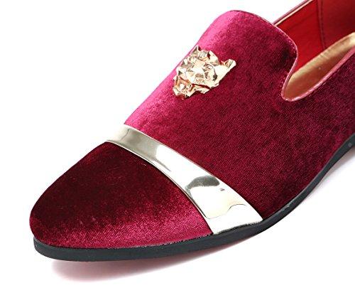 Heren Fluwelen Loafers Slippers Met Gouden Gesp Trouwjurk Schoenen Instappers Roken Flats Zwart Blauw Rood Rood