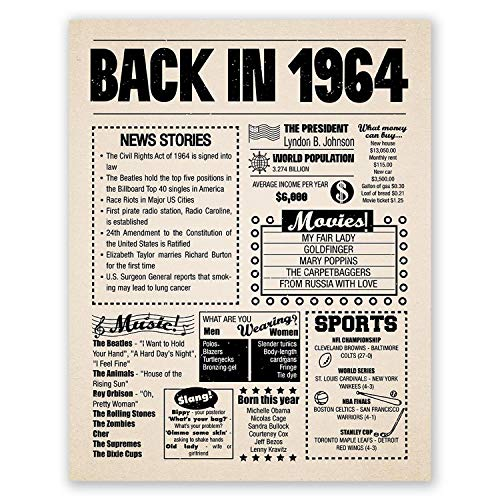 (11x14 1964 Birthday Gift // Back in 1964 Newspaper Poster // 55th Birthday Gift // 55th Party Decoration // 55th Birthday Sign // Born in 1964 Print)