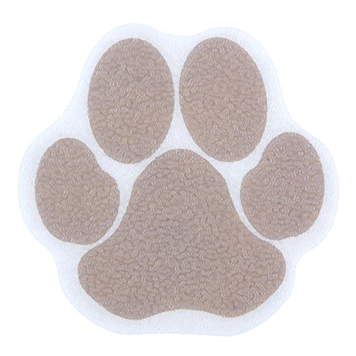 SlipX Solutions Adhesive Paw Print Bath Treads Adds Non-Slip Traction to Tubs, Showers, Pools, Boats, Stairs & More. (Tan, 6 Treads per Pack, 3.75