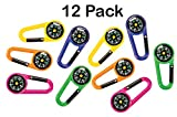 Plastic Carabiner Compass Belt Clips Pack Of 12 – 2.5 Inches Assorted Colors - Outdoor Camping Accessory - For Kids Great Party Favors, Fun, Toy, Gift, Prize, Piñata Fillers - By Kidsco