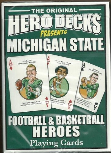 Michigan State Spartans NCAA College Hero Decks Playing Cards Poker Sized 52 Card (Hero Poker)