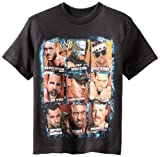 WWE Little Boys' Superstars T-Shirt Shirt, Black Squares, 4