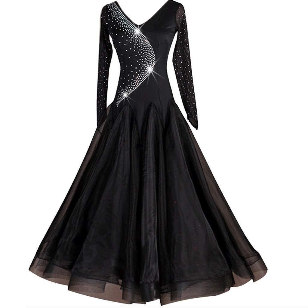 大人気 女性の長袖Vネックモダンダンスドレス XL、タンゴワルツパフォーマンスコンペティションフラッシュドリルビッグスイングスカート B07QPT2JHS ブラック XL|ブラック XL|ブラック ブラック XL, 刺繍半襟 ひめ吉:516414bf --- a0267596.xsph.ru