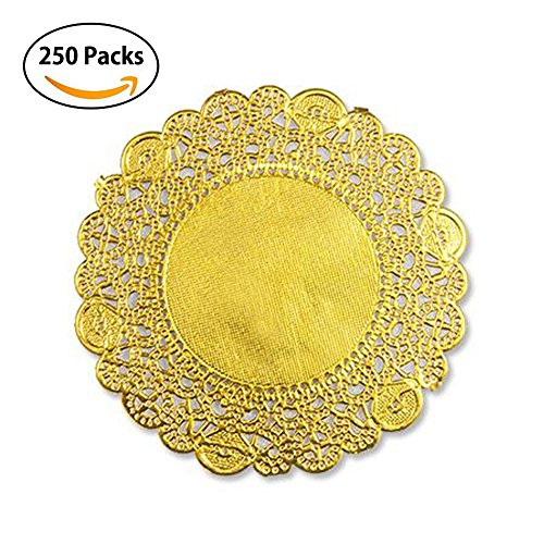 Round Gold Foil Metallic Paper Doilies Royal Lace Foil Paper Doily 4.5 Inch Diameter / Cake Placemats Crafting Coaster of Party Wedding Gift Tableware Decoration - (250 PCS) (Gold)