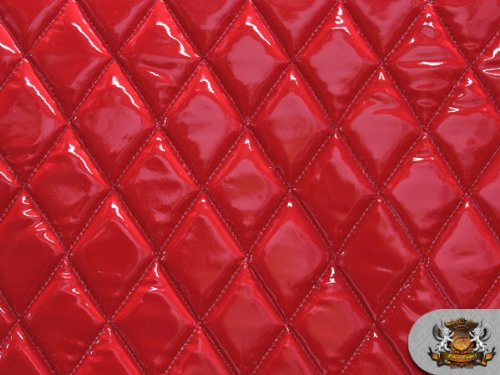 Vinyl QUILTED FOAM GLOSSY RED Fabric w/ 3/8