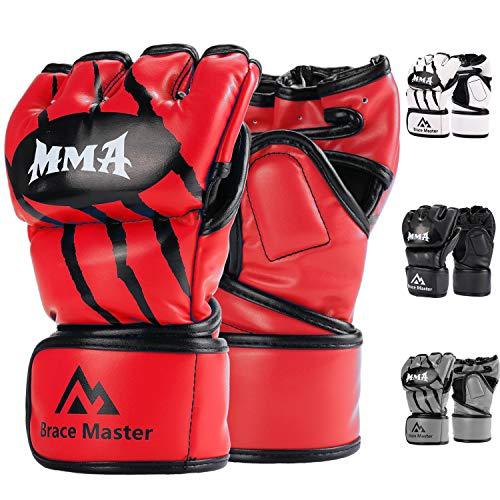 Brace Master MMA Gloves UFC Gloves Boxing Gloves for Men Women Leather More Paddding Fingerless Punching Bag Gloves for Kickboxing, Sparring, Muay Thai and Heavy Bag (Red, Medium)