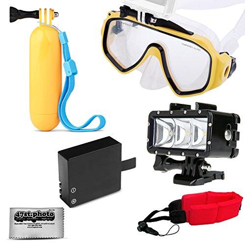 Opteka Snorkeling Google + Floating Hand Grip + LED Light + Battery + Wrist Strap for GoPro HERO4, HERO3, HERO2 Black, Silver, Session, SJ6000, SJ4000 and Similar Action Cameras