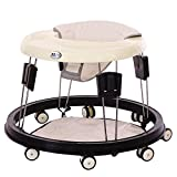 Echaprey Foldable Baby Walker Strollers Eight Height Adjustable and Free Installation Learning Walker for Baby 6-18 Months (White)
