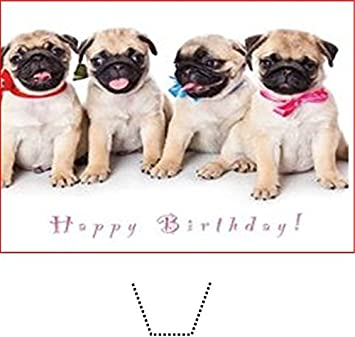 Novelty Happy Birthday Pug Puppies 12 Edible Stand Up Wafer Paper Cake Toppers 5