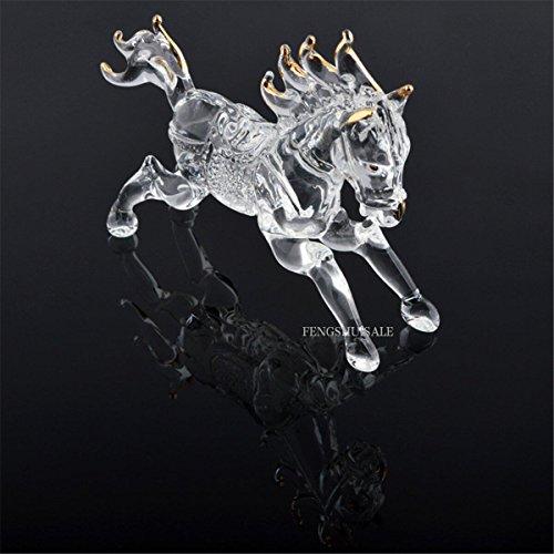 One Feng Shui Crystal Glass Success Horse Sculpture Zodiac Horse + Free Red String Bracelet L1022 (Feng Shui Glass)