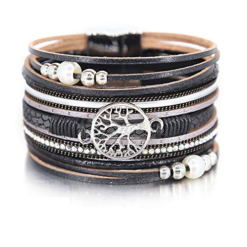 Crystal Stackable Bracelet - Black Tree of Life Bracelet Pearl Bead Bracelet Gray Rhinestone Wrap Bracelet Leather Cuff Bracelet Braided Bracelet Boho Jewelry for Women Teen Girls