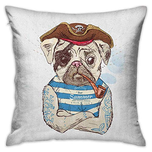Pug Square Custom Pillowcase Pirate Pug Conqueror of The Seas Pipe Skulls and Bones Hat Striped Sleeveless T Shirt Brown Blue Cushion Cases Pillowcases for Sofa Bedroom Car W17.7 x L17.7 ()