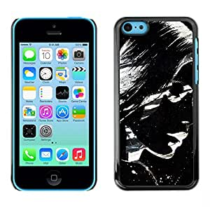 QCASE / Apple Iphone 5C / lunettes de soleil fille femme art lèvres de peinture / Delgado Negro Plástico caso cubierta Shell Armor Funda Case Cover