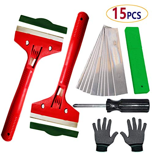 (Razor Scraper Tool Blade Kitchen – with 10 Scraper Blades, Paint Stain Dirt on Tile Floor,Glass Wall, Vinyl,Spatula for Wallpaper,Sticker Glue Paint)