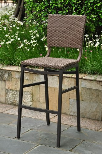 (International Caravan Barcelona Patio Bar Stool in Black (Set of)