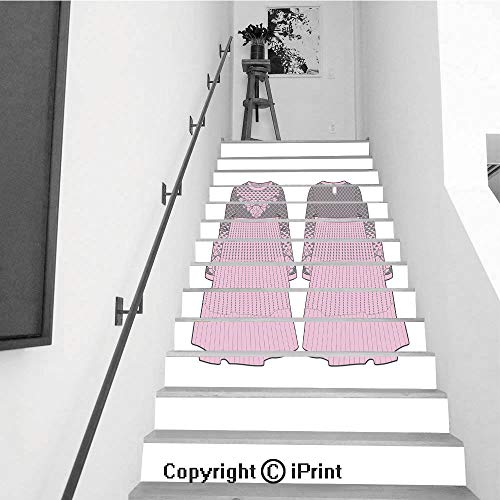 baihemiya stickers 13Pcs Stair Sticker Decals 3D Creative Building Stair Risers Tiles Wallpaper Mural Self-Adhesive,Cute Pink Dress with Seam at Waist and Flared Skirt