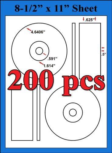 200 MEMOREX CORE COMPATIBLE LABELS DISC CD/DVD Matte White Laser InkJet Sheets