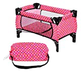 Exquisite Buggy Doll Pack N Play Crib Polka Dot Design Fits up to 18' Dolls Blanket and Carry Bag Included