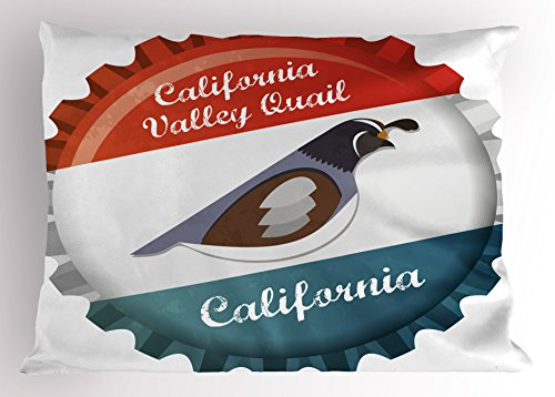 Lunarable Quail Pillow Sham, California Valley Quail Graphic Style Bottle Cap Design Regional Animal State Bird, Decorative Standard Queen Size Printed Pillowcase, 30 X 20 inches, Multicolor by Lunarable