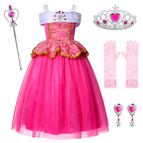 - Deluxe Princess Aurora Pink Dress For Birthday Party With Gloves Earrings Crown and Wand 4-5 Years