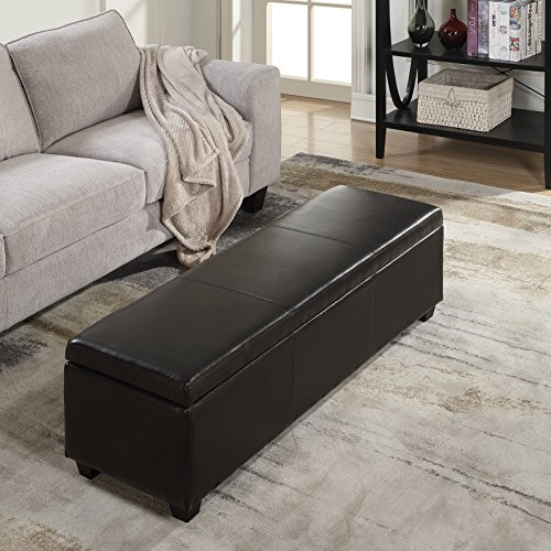 Belleze 48'' Storage Ottoman Luxury Bedroom Upholstered Faux Leather Decor (Brown) by Belleze (Image #2)