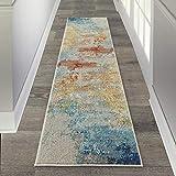 Nourison Sublime Modern Abstract Area Rug, 2'x6', Multicolor Grey, SEALIFE