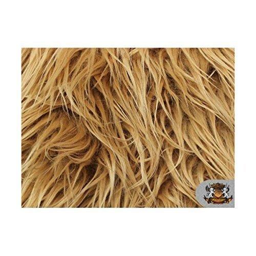 Faux / Fake Long Pile Fur Mongolian DARK CAMEL Fabric / 1 YARD