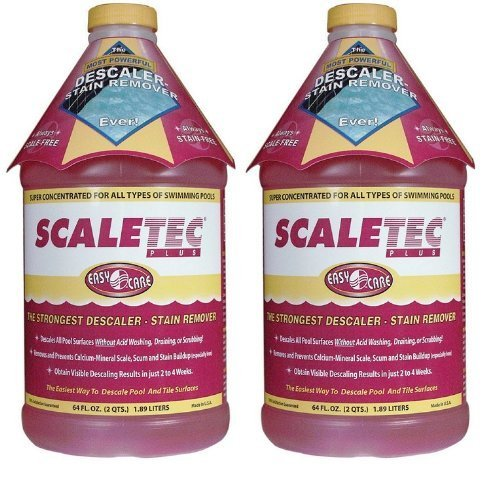 Pool Red Stain (EasyCare Scaletec Plus Descaler and Stain Remover 64 oz - 20064 - 2 PACK by EasyCare)
