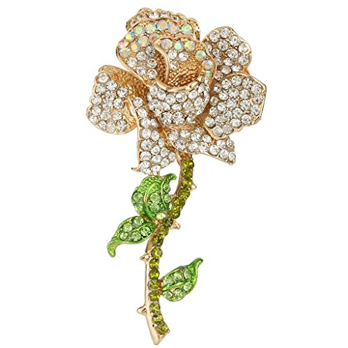 EVER FAITH Women's Austrian Crystal Blooming Rose Flower Leaves Brooch Clear Gold-Tone