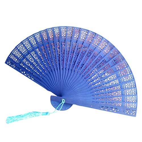 Cinhent Hand Folding Fans Chinese Style Wedding Hand Fragrant Design Party Gifts Carved Bamboo Personalized Foldable Fan For Tranditional Cultural Enthusiast (F)