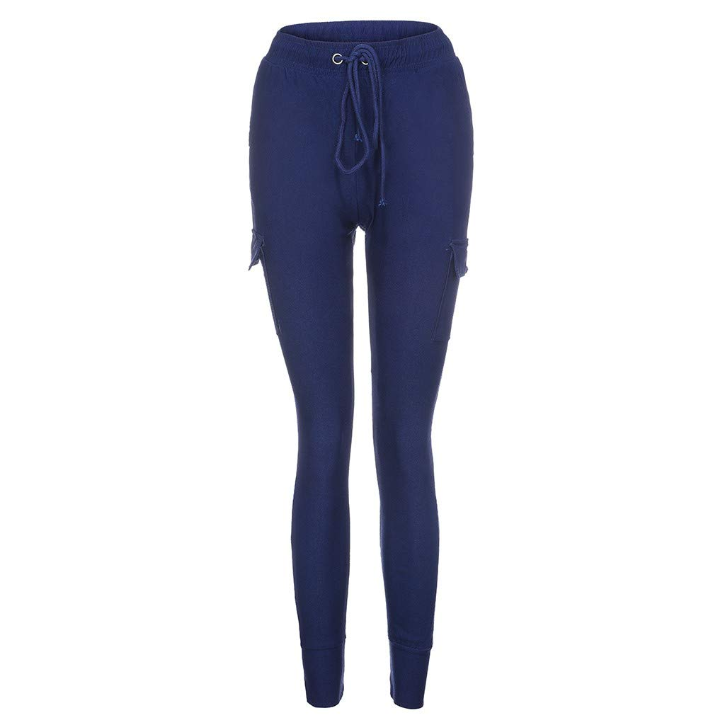 LUXISDE Trousers for Women High Waisted Solid Streetwear Casual Loose Elastic Trousers Pockets Full Pants(Navy,M) by LUXISDE (Image #3)
