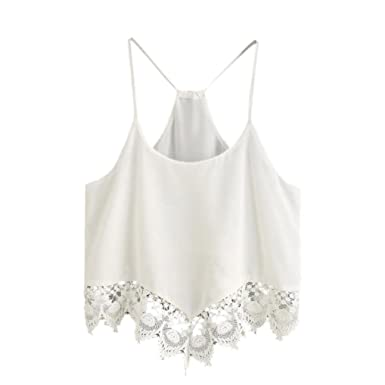 a3ecb9a13d98e Wintialy Women Casual Stripe Sleeveless Lace Crop Top Vest Tank Shirt  Blouse Cami Top