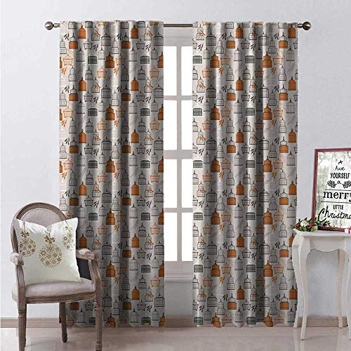 Hengshu Birdcage Window Curtain Drape Retro Style Dotted Background Tree Leaves and Antique Pet Cages Customized Curtains W72 x L84 Grey Orange and White ()