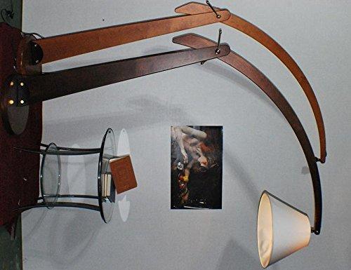 Lampada da terra arco legno classico noce amazon illuminazione