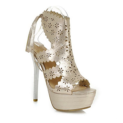 Spikes Peep Pu Gold Toe Women's Solid Stilettos WeenFashion Lace Up Sandals x0qwftgUF