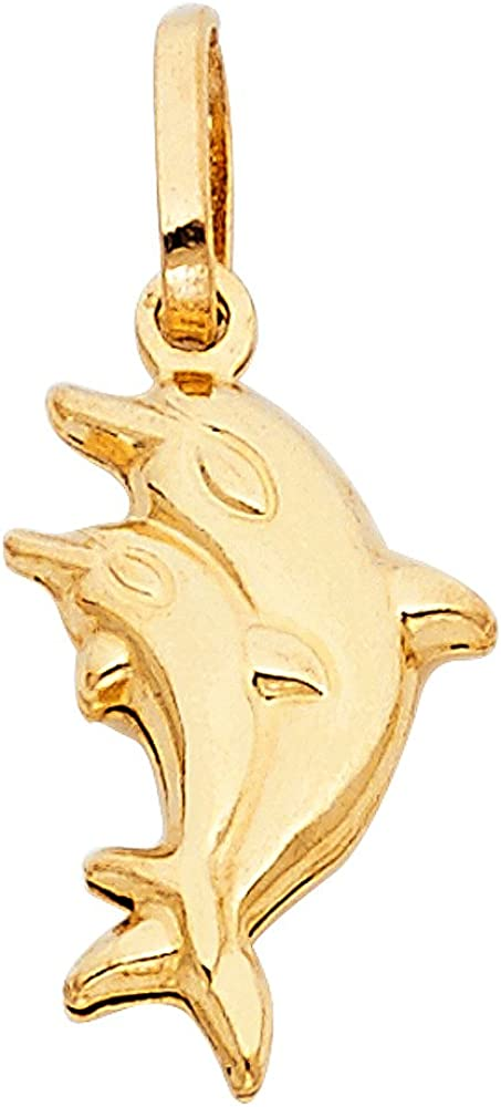 14K Yellow Gold Double Dolphin Prosperity Charm Pendant with 0.9mm Wheat Chain Necklace