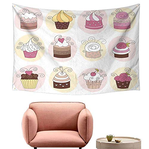 Agoza Room Tapestry Modern Cupcakes Bakery Pastry Design Confectioners Decorations Cake Retro Style Decor Literary Small Fresh 23