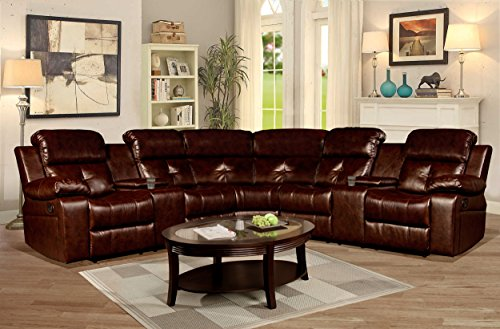 Kings Brand 3-Piece Reclining Sectional with Cup Holders & Storage Consoles, Brown (Holder Cup Sectional Sofa)