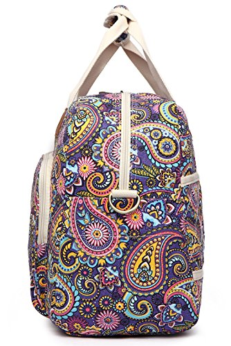 Malirona Canvas Overnight Bag Women Weekender Bag Carry On Travel Duffel Bag Floral (Purple Flower) by Malirona (Image #3)