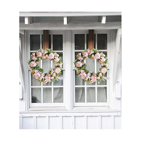 HEBE 20″ Peony Flower Wreath for Front Door Large Artificial Pink Peonies with Hydrangeas Welcome Floral Door Wreath for Wedding,Window, Wall,Home Decor All Seasons