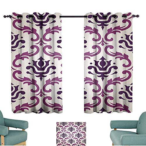 Flush Damask (Warm Family Kids Room Curtains Vintage Vector Leaf Damask Brocade Vine Tapestry Wallpaper Background Pattern Suitable for Bedroom Living Room Study, etc.)