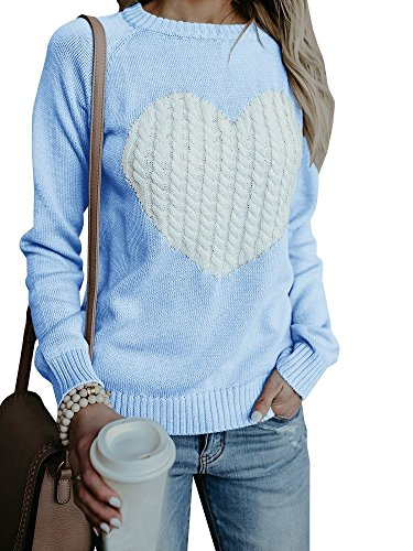 Bbalizko Womens Casual Pullover Sweater Long Sleeve Crew Neck Heart Printed Knit Sweater Tunic Tops (Large, Sky Blue)