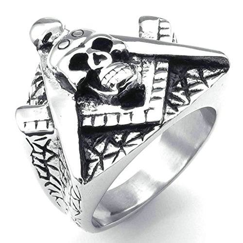 Daesar Stainless Steel Rings Mens Rings Skull Ring Men Masonic Freemason Ring Silver Biker Rings (Masonic 2 Heel)