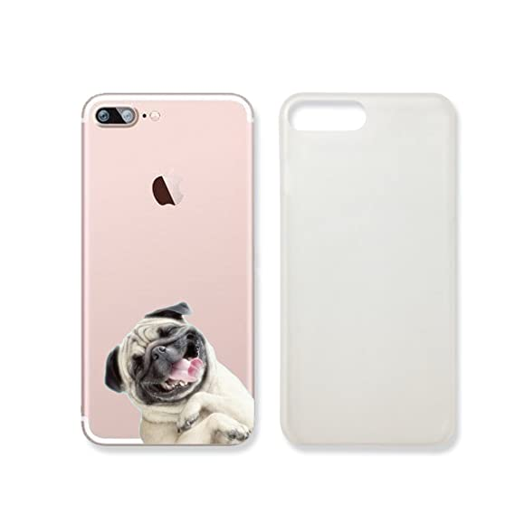 official photos fce1d ab7fc Amazon.com: Cute Pug Dog Slim Transparent Iphone 7 Case, Clear ...