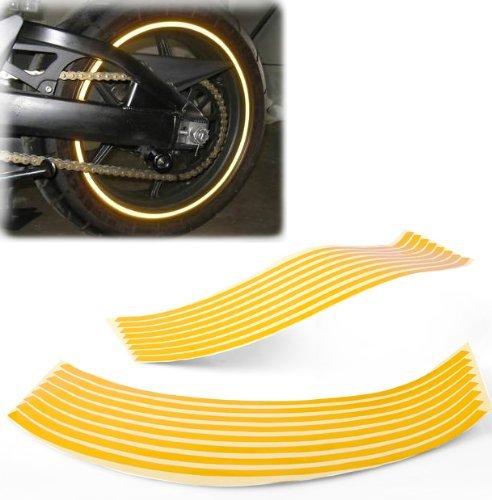Yellow Reflective Wheel Rim Stripe Decal Tape Sticker Fits 16
