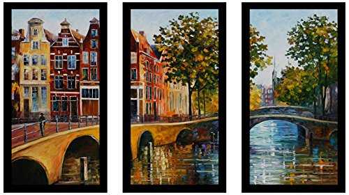 Picture Perfect International Leonid Afremov The Gateway to Amsterdam Framed Plexiglass Art Set of 3 Wall-Decor, 13.5