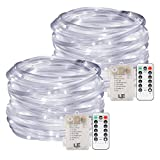 LE 2 Pack LED Rope Lights, 10m 120 LEDs Waterproof 8 Modes Remote Control, Dimmable, Battery Powered, String Lights for Garden Patio Party Christmas Outdoor Decoration, Daylight White