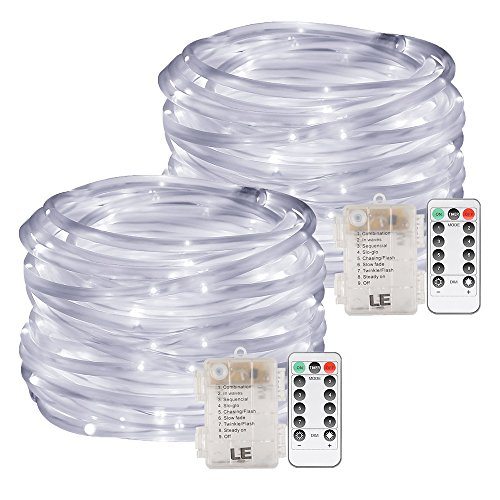 LE LED Rope Lights, Battery Powered, Remote Dimmable Daylight Waterproof 33ft 120 LED Indoor Outdoor Light Rope and String for Deck, Patio, Bedroom, Boat, Camping Landscape lighting and More Pack of 2 -