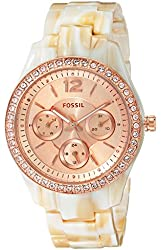 Fossil Women's ES3578 Stella Multifunction Pearlized Resin Watch